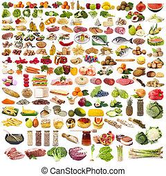 nourriture, ensemble, isolé, collection