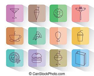 nourriture, ensemble, isolé, jeûne, icône