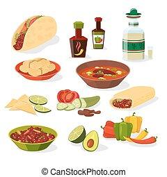 nourriture, ensemble, mexicain, icônes
