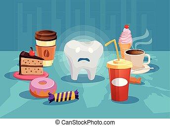 nourriture, entouré, malsain, dent, sucre