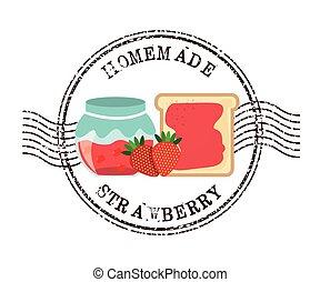 Affiche, confiture, fait maison. Confiture, naturel, affiche, nourriture, collection, pot ...