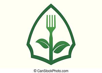 nourriture, fegetarians, organique, logo