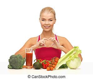 nourriture, femme, organique