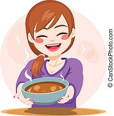 nourriture, femme, servir