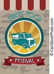 nourriture, festival, brochure, rue