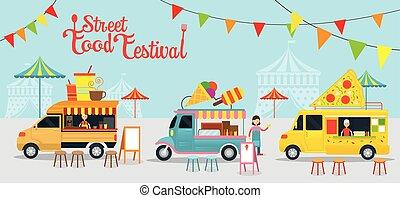 nourriture, festival, camion, rue