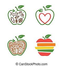 nourriture, fourchette, ligne, feuille, flèche, icônes, pomme, ensemble, symbole, coeur, végétarien