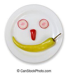 nourriture fraîche, smiley, isolé, blanc