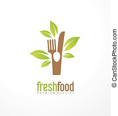 nourriture, frais, concept, conception, logo