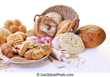 nourriture, frais, groupe, pain