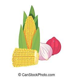 nourriture, frais, maïs, oignon ail
