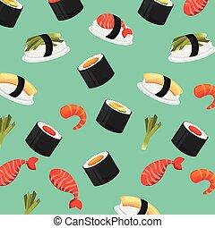 nourriture, frais, seamless, chinois, modèle
