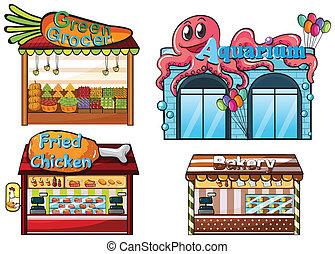 nourriture, fruitstand, boulangerie, stalle, aquarium