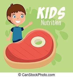 nourriture, garçon, heureux, nutrition