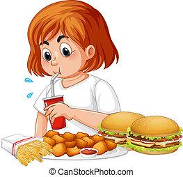 nourriture, girl, manger, graisse, jeûne