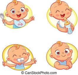 nourriture gosses, enfants, hygiène, conception, gabarit, bébé, produits, magasin