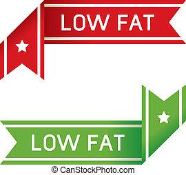 nourriture, graisse, bas, étiquette