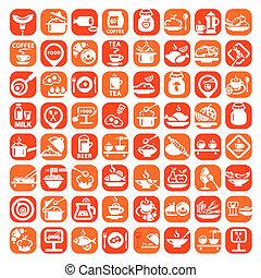 nourriture, grand, ensemble, icône