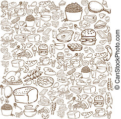 nourriture, griffonnage
