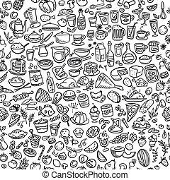 nourriture, griffonnage, seamless, fond, icônes