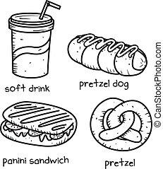 nourriture, griffonnage, style, boisson, icône