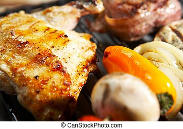 nourriture, gril, -, barbecue