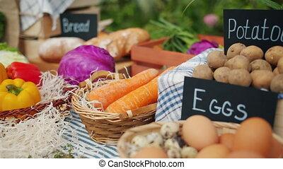 nourriture, gros plan, sain, mouvement, frais, marché, lent, organique, table, ferme