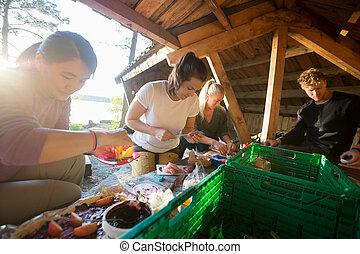 nourriture, hangar, amis, forêt, préparer