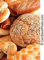 nourriture, haut, fond, chignons, fin, pain