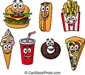 nourriture, heureux, dessin animé, coloré, plat à emporter