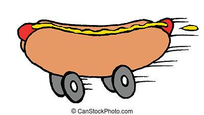 nourriture, hot-dog, jeûne