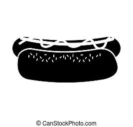 nourriture, hot-dog, jeûne, icône