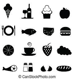nourriture, icône, ensemble
