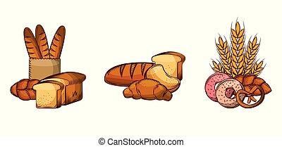 nourriture, image, collection, boulangerie, produits, pain