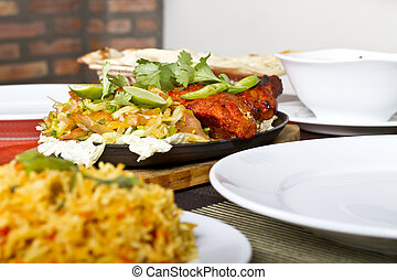 nourriture indienne, poulet, tandori