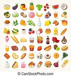 nourriture, ingrédients, plats, icônes
