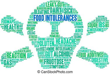nourriture, intolerances, mot, nuage