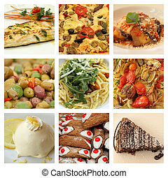 nourriture italienne, collage