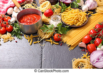 nourriture italienne, fond, ingrédient