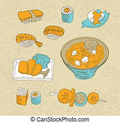 nourriture, japon, icônes