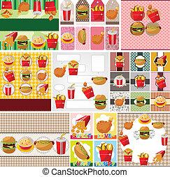 nourriture, jeûne, dessin animé, carte