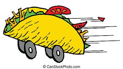 nourriture, jeûne, taco