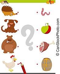 nourriture, jeu, animaux, allumette