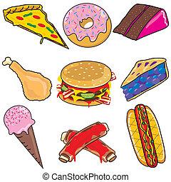 nourriture, jonque, éléments, icônes