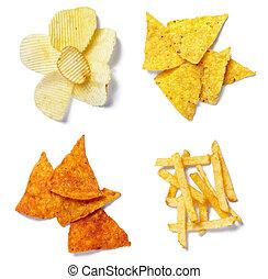 nourriture, jonque, chips, salé, pomme terre