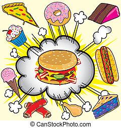 nourriture, jonque, explosion!