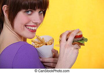 nourriture, jonque, femme mange