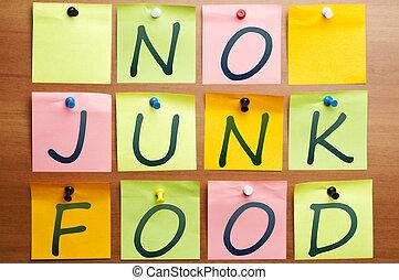 nourriture, jonque, non