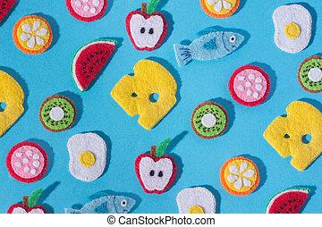 nourriture, jouets, feutre, bleu, formulaire, fruits, arrière-plan., fait, couture, main