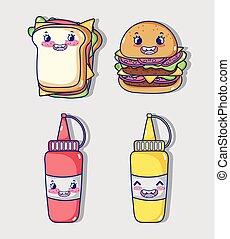 nourriture, kawaii, jeûne, collection, dessins animés
